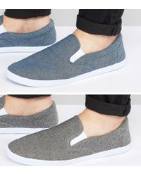 ASOS - Slip On Plimsolls In Black And Blue Chambray 2 Pack Save for Men - Lyst