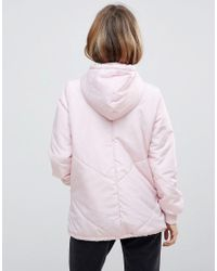 Noisy May Petite - Pink Padded Hooded Jacket - Lyst