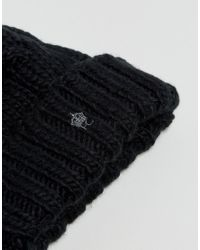 French Connection - Black Cable Knit Bobble Beanie for Men - Lyst