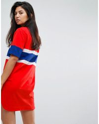 Fila - Red Oversized Varsity T-shirt Dress - Lyst