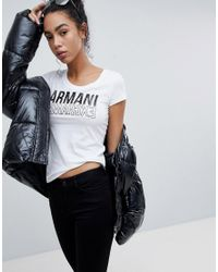 Armani Exchange - White Scoop Neck Mirror Logo T-shirt - Lyst