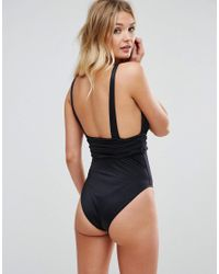 ASOS - Black Fuller Bust Gathered Waist Band Swimsuit Dd-g - Lyst