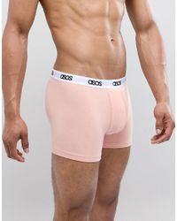 ASOS - Trunks In Pink & Grey With Branded Waistband 5 Pack In Organic Cotton for Men - Lyst