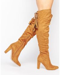 Missguided - Brown Heeled Over The Knee Boot With Lace Up Back - Lyst