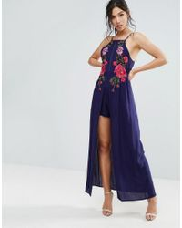 8d26d6c7511d Lyst - Club L Embroidery Detail Playsuit With Maxi Skirt in Blue