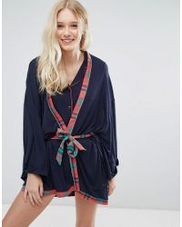 Chelsea Peers - Blue Christmas Check Long Robe - Lyst