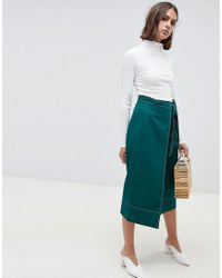 ASOS - Green Design Tailored Midi Wrap Skirt With Topstitch - Lyst