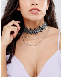 ASOS - Multicolor Pack Of 3 Crystal Choker And Chain Necklaces - Lyst