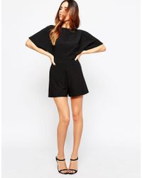 ASOS - Black Tall Kimono Playsuit With Open Back And D-ring - Lyst