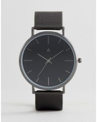 ASOS - Gift Set With Mesh Watch And Necklace In Matte Black for Men - Lyst