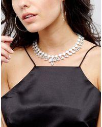 Krystal London - Metallic Swarovski Crystal Chunky Necklace With Leaf Drops - Lyst