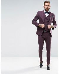 ASOS - Purple Wedding Skinny Suit Jacket In Berry Wool Mix for Men - Lyst