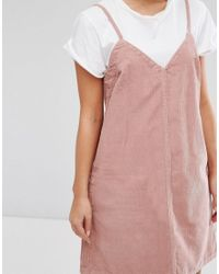 ASOS - Asos Petite Cord Slip Dress In Pink - Lyst
