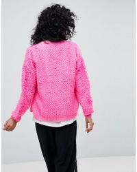 ASOS - Pink Cardigan With Bobble Stitch - Lyst