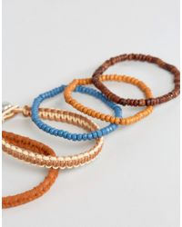 ASOS - Multicolor Beaded Bracelet Pack In Red And Brown for Men - Lyst