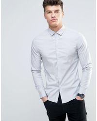 ASOS - Skinny Shirt In Light Gray for Men - Lyst