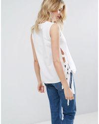 Mango - White Tie Side Detail Tunic Top - Lyst