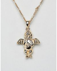 Serge Denimes - Metallic Cherub Necklace In 14k Gold Plated Solid Silver for Men - Lyst