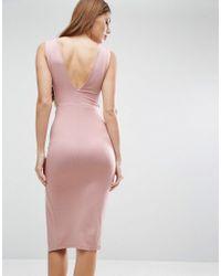 ASOS - Natural Cut Out Asymmetric Plunge Midi Dress - Lyst