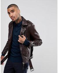 f7c0d58166d3a AllSaints Leather Biker Jacket in Red for Men - Lyst