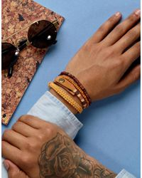 ASOS - Leather And Beaded Bracelet Pack In Orange for Men - Lyst