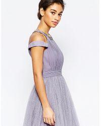 Little Mistress   Purple Cold Shoulder Embellished Prom Dress   Lyst
