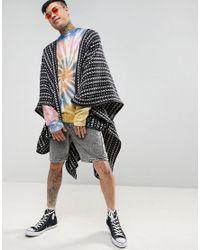 ASOS - Blue Festival Cape In Woven Design for Men - Lyst