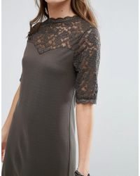 B.Young | Green 3/4 Sleeve Lace Shift Dress | Lyst