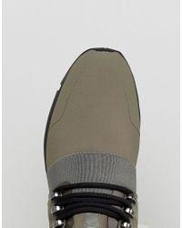 HUGO - Green Hybrid Knitted Trainers In Khaki for Men - Lyst