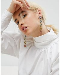 ASOS - Metallic Rainbow Jewel Drop Earrings - Lyst