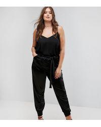 Club L - Black Plus Satin Peg Trousers - Lyst