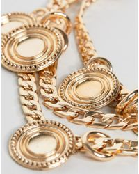 ASOS - Metallic Asos Design Curve Statement Coin And Chunky Chain Multirow Necklace - Lyst