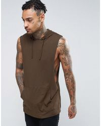 f6e5ab711cac3 Men s Brown Longline Sleeveless T-shirt With Hood And Extreme Dropped  Armhole