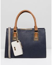 Dune | Blue Deedee Large Tote Bag With Colourblock Handle | Lyst