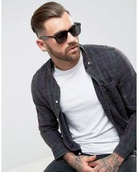 ASOS - Gray Square Sunglasses In Crystal Grey for Men - Lyst