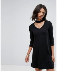 Only Abbie Swing Dress With Choker Collar in Black - Lyst 08193778c
