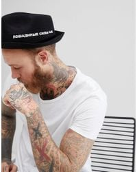 ASOS - Pork Pie Hat With Pinched Crown In Black With Printed Design for Men - Lyst