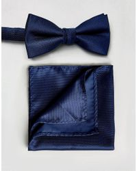SELECTED | Blue Bow Tie And Pocket Square Set for Men | Lyst