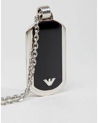 Emporio Armani - Black Dogtag Necklace for Men - Lyst