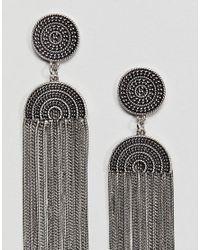 ASOS - Metallic Engraved Detail Chain Fringe Earrings - Lyst