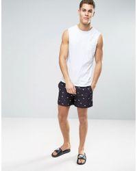 D-Struct - Blue D Struct Swim Shorts With Mini Origami Print for Men - Lyst
