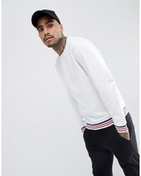 ASOS - Asos Sweatshirt With Tipping In White Marl for Men - Lyst