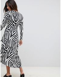 ASOS - Black Tie Waist Maxi Dress In Zebra Print - Lyst