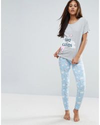 ASOS - Blue Head In The Clouds Pyjama Set - Lyst