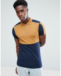 884c440d Lyst - ASOS Asos Muscle Fit Polo Shirt With Colour Block And Zip ...