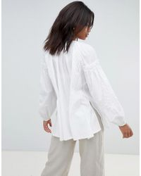 French Connection - White Embroidered Smock Blouse - Lyst