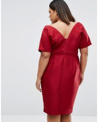 ASOS - Red Wiggle Dress With Wrap Front And Seam Detail - Lyst