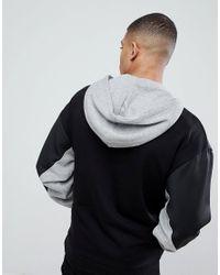 ASOS - Black Asos Oversized Longline Retro Track Hoodie With Colour Blocking for Men - Lyst