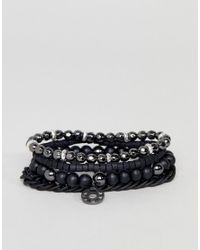 Icon Brand - Beaded Bracelet 4 Pack In Black for Men - Lyst