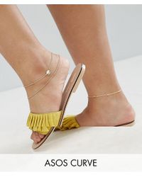 ASOS - Metallic Pack Of 3 Opal And Chain Anklets - Lyst